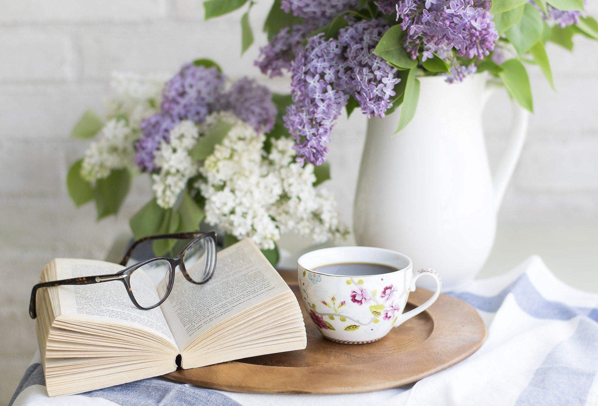 tea book glasses